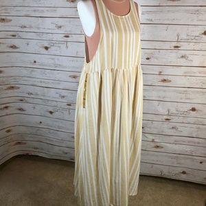 Hem & Thread striped pinafore style dress breezy L
